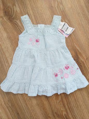 Bawełniana letnia sukienka niemowlęca r. 62 wyprawka 0-3 m-cy NOWA