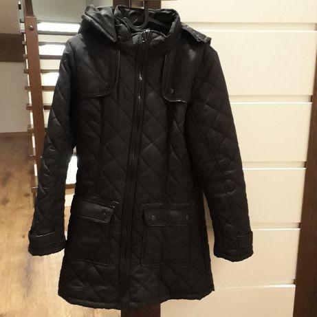 Pikowana kurtka zimowa (płaszcz) czarna r. S/M