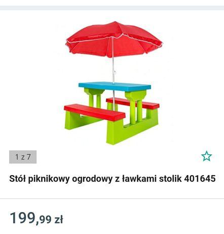 Stolik piknikowy, ogrodowy z ławkami