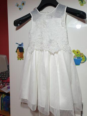 Biała sukienka z bolerkiem rozm. 116