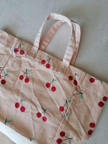 Mala/saco rosa claro com cerejas da H&M, com etiqueta