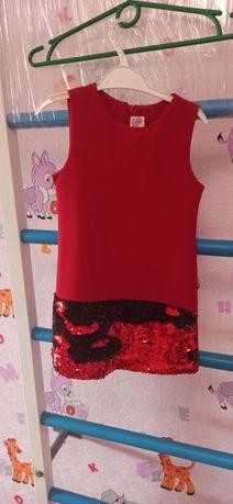 Красное детское платье 4-5- 6 лет