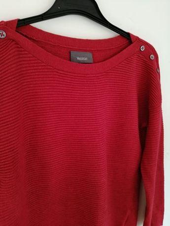 sweterek sweter czerwony na jesień zima C&A XS