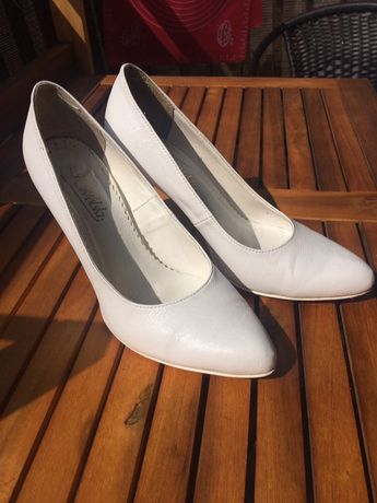 Białe buty ślubne J. Wolski skóra naturalna 36