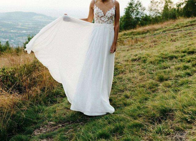 Boho rustykalna suknia ślubna muślin koronka SUKIENKA SUKNIA ŚLUB 2020