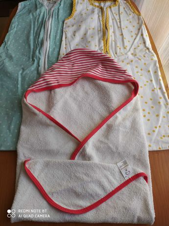 Śpiwór do spania, ręcznik niemowlęcy, kąpielowy stan bdb całość 15 zł