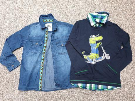 Koszula jeansowa Smyk i bluzeczka elegancka roz 116 STAN IDEALNY