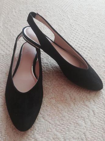 Buty na lato pół sandały balerinki z odkryta pięta