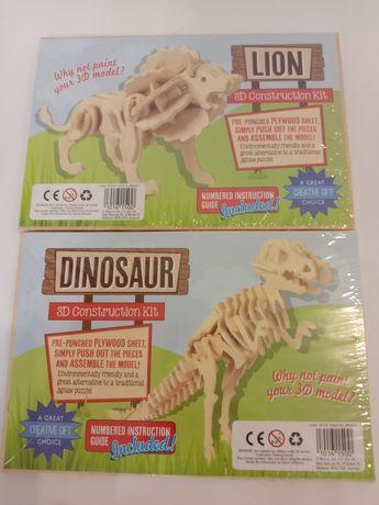 Деревянный 3d конструктор лев, динозавр. Австралия.