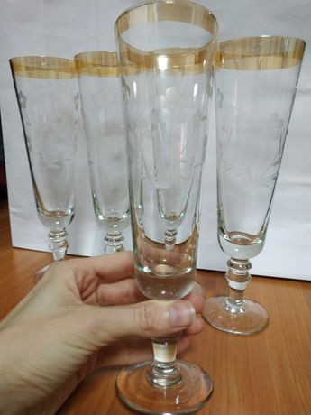 Бокалы для шампанского 5 шт СССР