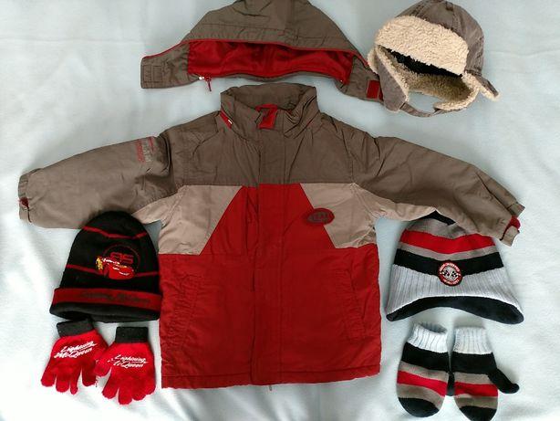 REBEL Kurtka zimowa odpinany kaptur czapka wiązana uszatka rękawiczki