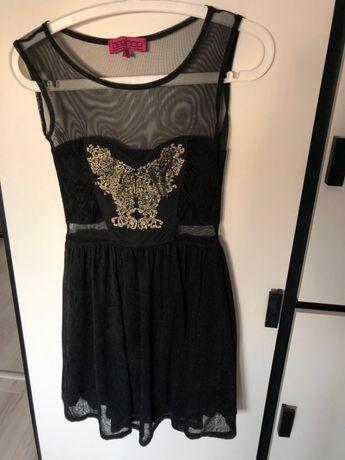 krótka czarna elegancka sukienka boohoo XS/S