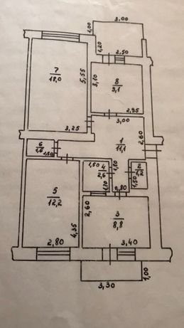 Продам 3 -ох кімнатну квартиру в смт. Батьово