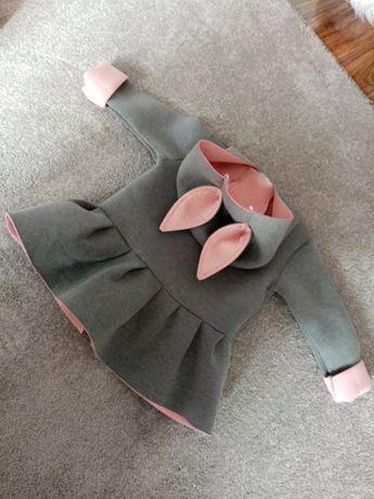 Wiosenny płaszczyk piankowy z uszkami płaszczyk króliczek cudo