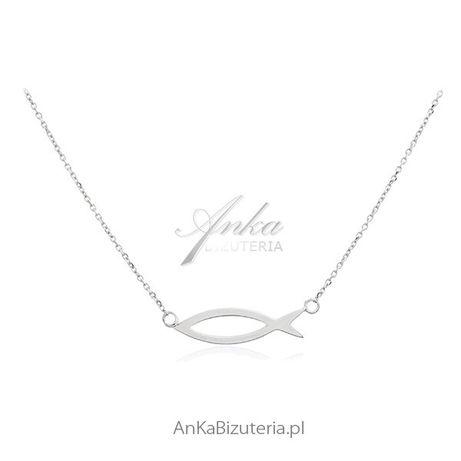 ankabizuteria.pl pierścinek blaszka Naszyjnik srebrny ze znakiem RYBY