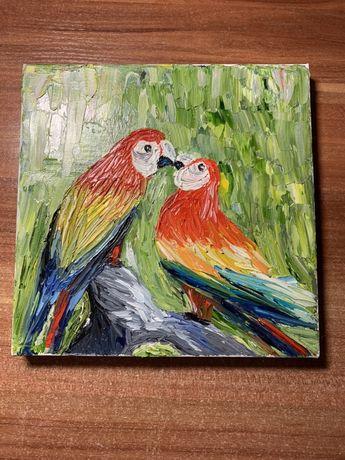 Картина «попугаи» маслом