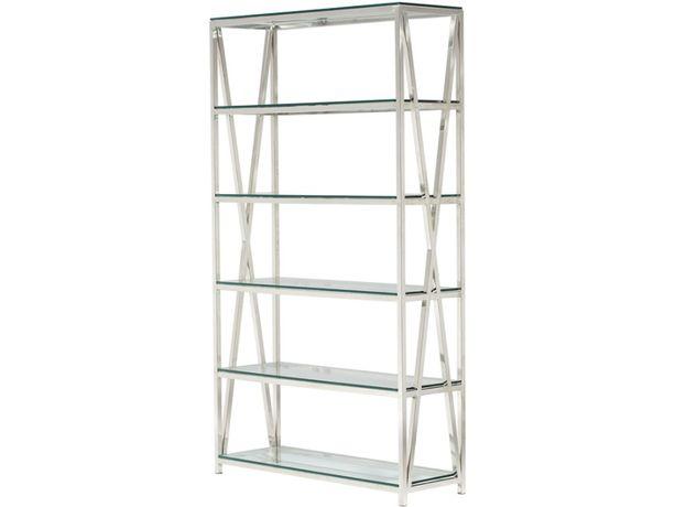 Regał szklany srebrny metalowy stal nierdzewna bardzo wysoka jakość