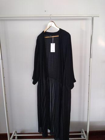 Zizzi narzuta L 40 nowa czarna plisowana plisy sweter marynarka