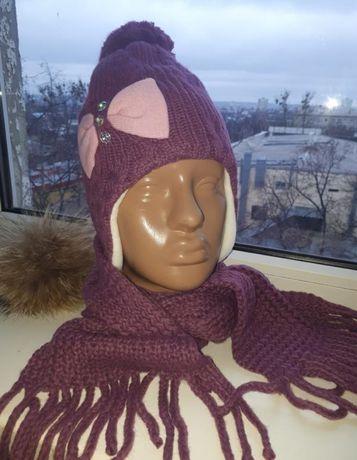 Шапка и шарф набор для девочки Польша
