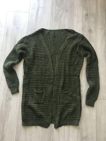 Zielony oliwkowy kardigan