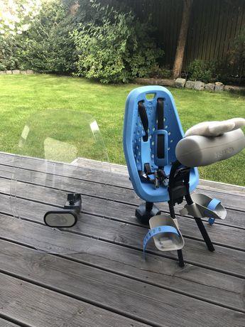 Przedni fotelik rowerowy Yepp Mini (niebieski) + osłona od wiatru Yepp