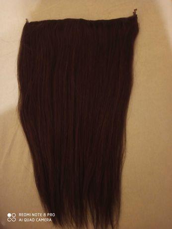 Naturalne włosy doczepiane ciemny braz