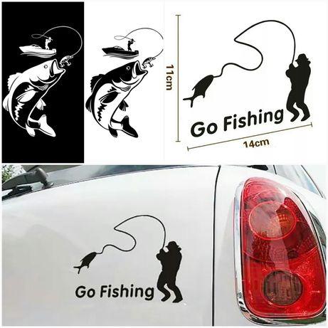 Naklejka GO FISHING wędkarstwo rybak