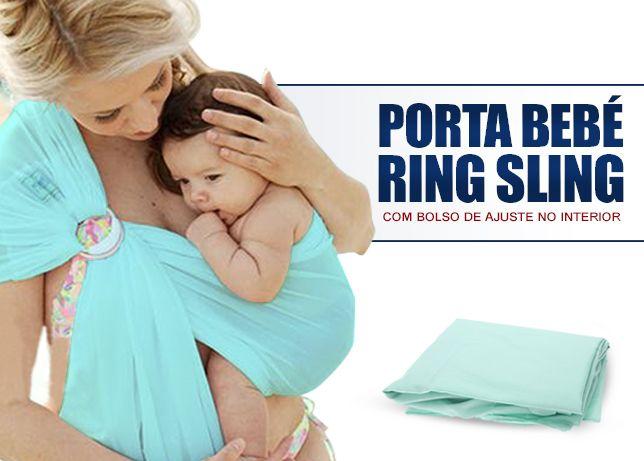 Lenço porta bebé ring sling com bolso de ajuste no interior