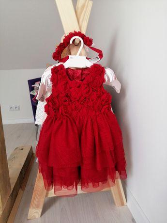 Śliczna sukienka z różyczkami i opaskę NOWA H&M