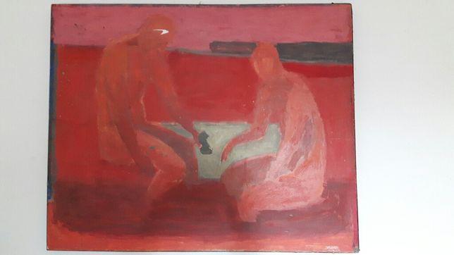 Obraz olejny ludzie postacie czerwony czerwień