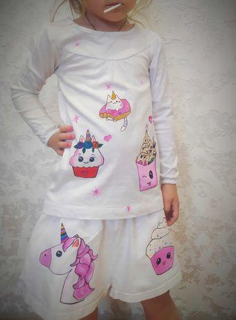 Шорты и кофта белые для девочки ручной росписью