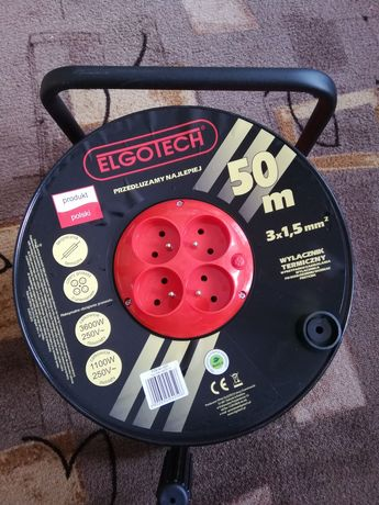 Przedłużacz bębnowy 50m 3x1.5mm2 idealny do przyczepa kempingowa kampe