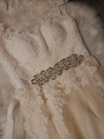 Suknia ślubna kremowo brzoskwiniowa