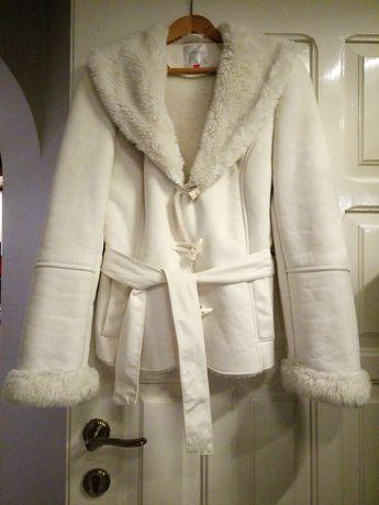 Białe sztuczne futerko kurtka zimowa wiosenna Orsay M