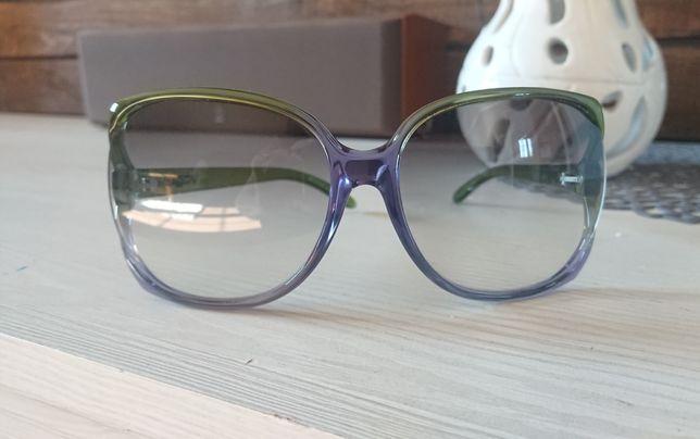 Okulary vogue cieniowane ombre gradient zielono fioletowe duże