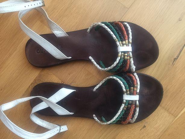 Damskie sandałki - buty skórzane, ze skóry - 40 - firmowe Quazi
