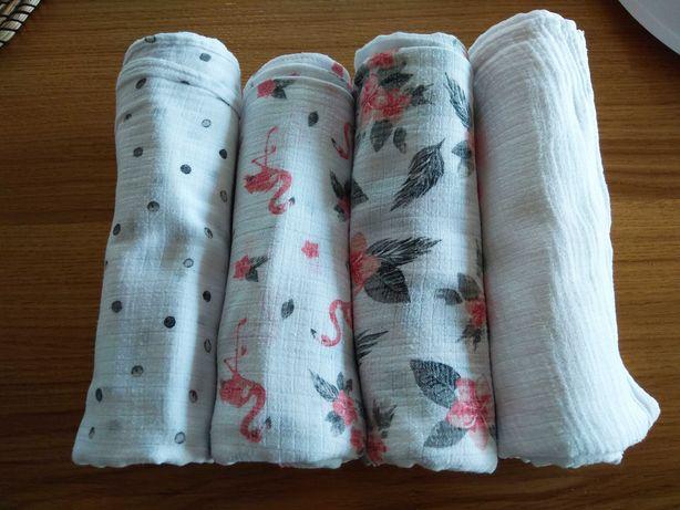 Otulacz muślinowy, 4 sztuki, komplet bebe au lait, pieluszki tetrowe
