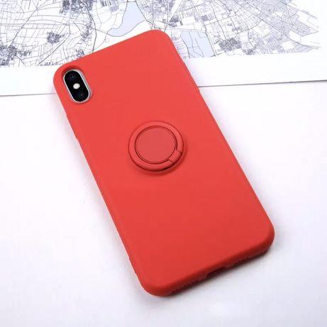 czerowne etui case z uchwytem na palec iPhone 7 8 Plus