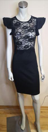 Czarna wieczorowa sukienka z koronkową górą. Rozm. M NOWA