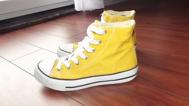 Żółte trampki wysokie za kostkę, rozm. 36, stan bdb