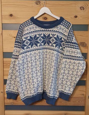 Voss Norway wełniany sweter folk vintage retro zima