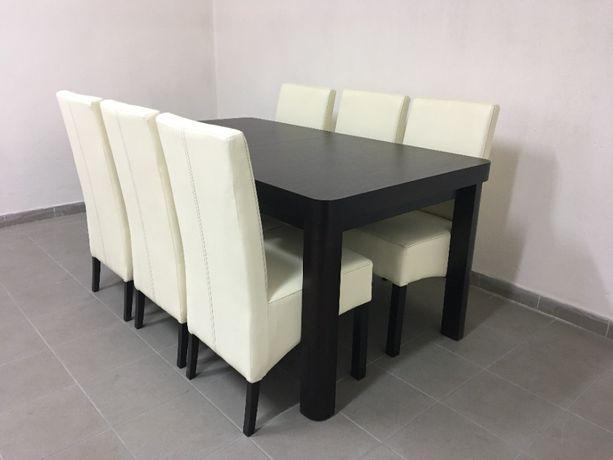 Zestaw Stół + 6 krzeseł Nowy Na Stanie Dostępny Swarzędz 160-200 x 90