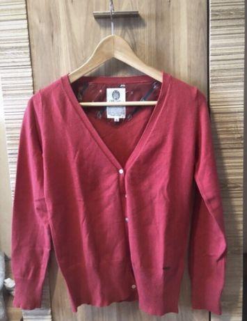 Lb czerwony sweterek rozpinany w serek