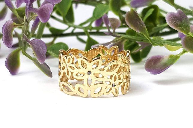 Złoty szeroki pierścionek kwiatuszki z cyrkoniami r.12 pr.585