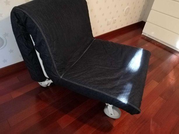 Sofá cama, 1 lugar, azul escura, Ikea