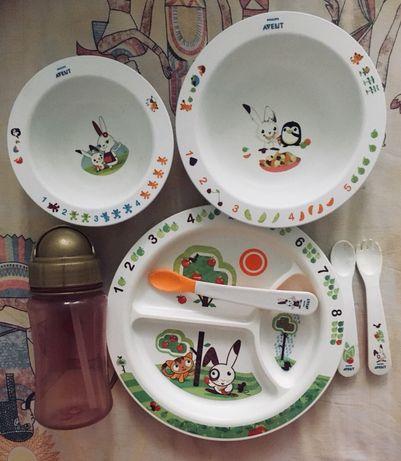 Набор детской посуды Anent плюс поильник Skip Hop в подарок
