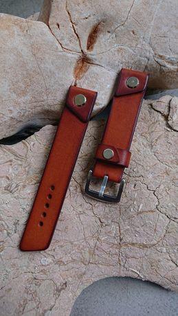 Pasek do zegarka ręcznie robiony - 22 mm. Skóra naturalna - hand made