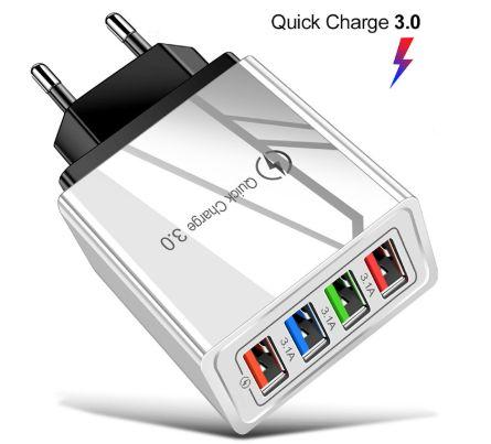 Ładowarka sieciowa 4USB Quick Charge 3.0 max 3.1A Samsung iPhone biała