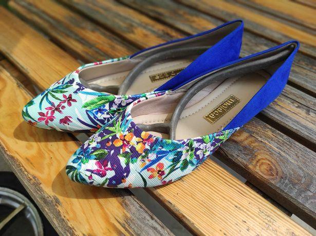 Buty baleriny kolorowe kwiaty, niebieski rozmiar 39