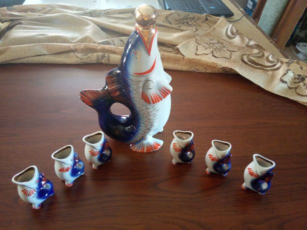 Porcelana Ryba +kieliszki lata 60-70te